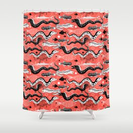 Beautiful graphic illustration of the sea snake, Moray Shower Curtain