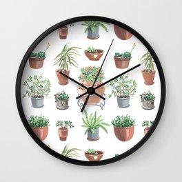 pots hand drawn pattern Wall Clock
