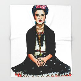Frida Kahlo Mexican Artist Feminist Art Throw Blanket