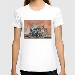 Two Vintage Bicycles Against a Wall, Trastevere, Rome, Italy T-shirt