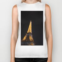 eiffel tower Biker Tanks featuring Eiffel Tower by Emily Werboff