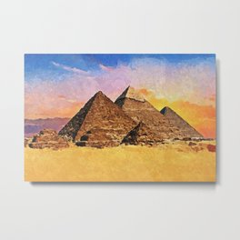 Giza pyramid complex - Acrylic & Palette Knife Paint on Canvas Metal Print