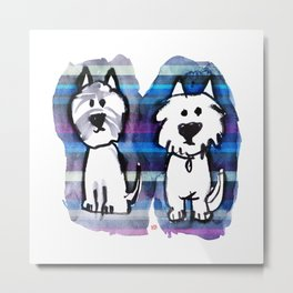 Two very serious Westies Metal Print