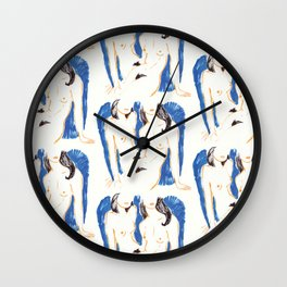 Nudes in Gold and Blue Wall Clock