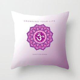 Y O G A for L I F E | Y O G A CORONAL CHAKRA | Y O G A mat CROWN CHAKRA Throw Pillow