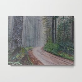 Misty Forest Mountain Path Metal Print
