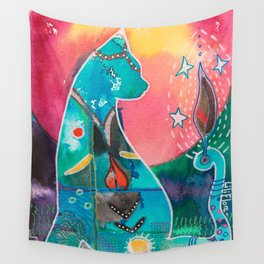 Super Cat - fantastic animal - by LiliFlore Wall Tapestry