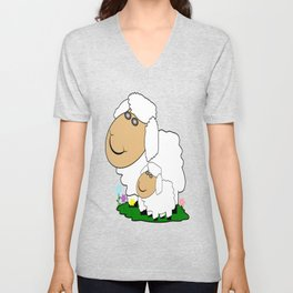 Sheep With Lamb Unisex V-Neck