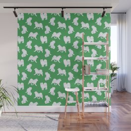 Samoyed Pattern (Green Background) Wall Mural