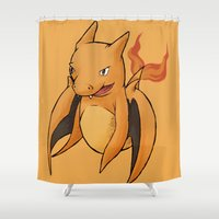 charizard Shower Curtains featuring Charizard Whale by CoolBreezDesigns