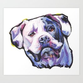 American Bulldog Portrait Dog bright colorful Pop Art by LEA Art Print