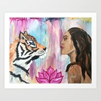 Empowerment Tiger and Girl  Art Print