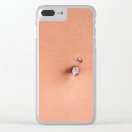 Belly piercing in the navel close up Clear iPhone Case