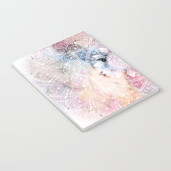 Whimsical white watercolor mandala design Notebook