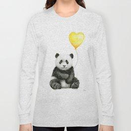 Panda with Yellow Balloon Baby Animal Watercolor Nursery Art Long Sleeve T-shirt