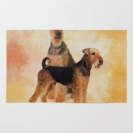 Airedale Terriers Digital Art Rug