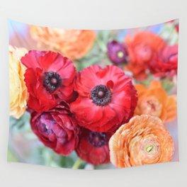 Rosey Ranunculus Wall Tapestry