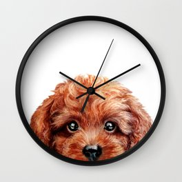 Toy poodle red brown Dog illustration original painting print Wall Clock