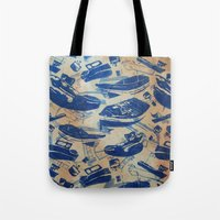 boats Tote Bags featuring Boats by Heather Fraser