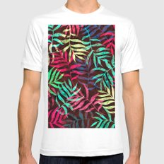 Watercolor Tropical Palm Leaves IV Mens Fitted Tee LARGE White