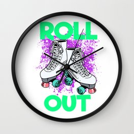 Womens Roller Skater Gift Design Roll Out Print Wall Clock