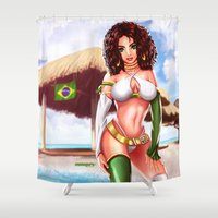 brazil Shower Curtains featuring brazil by monoguru