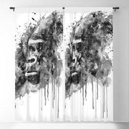 Powerful Gorilla Black and White Blackout Curtain