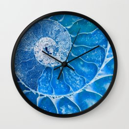 Blue colored Ammonite fossil Wall Clock