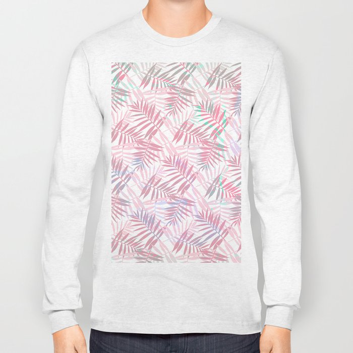 Pastel Color Palms Pattern Long Sleeve T-shirt