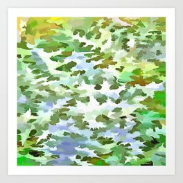 Foliage Abstract Pop Art In White Green and Powder Blue Art Print