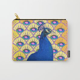 CONTEMPORARY BLUE ART DECO PEACOCK PINK-YELLOW ART Carry-All Pouch