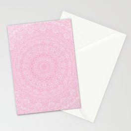 The Most Detailed Intricate Mandala (Rose Gold Pink) Maze Zentangle Popular Trending Pattern Design Stationery Cards
