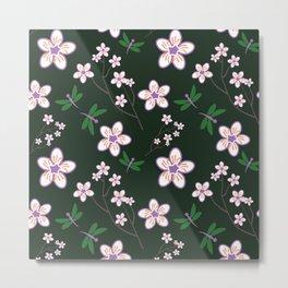 Cherry Blossom Season Purple Flowers on Green Background Metal Print