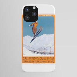1927 Chamonix - Mont Blanc France Ski Championship Poster iPhone Case