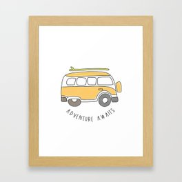 The Surf Life | Yellow Adventure Bus Framed Art Print