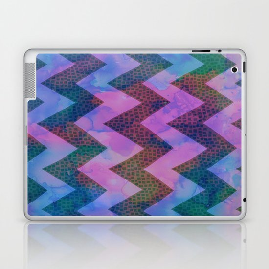 Little Squares Chevron - Blue Laptop & iPad Skin