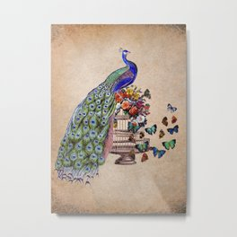 Vintage Peacock Beauty Metal Print