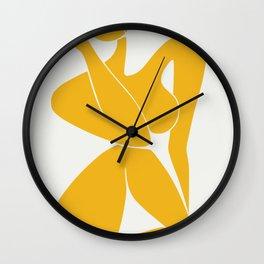 Nude sitting pose in yellow Wall Clock
