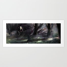 Encounter with the hippogriff Art Print