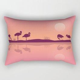 Flamingos on Riverbank Rectangular Pillow