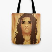 native american Tote Bags featuring Native American by Kimball Gray