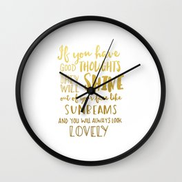 Good thoughts - gold lettering Wall Clock
