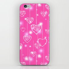 Openwork hearts on a bright pink background iPhone & iPod Skin