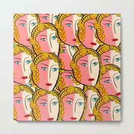Comics Pop Girl Pattern Metal Print
