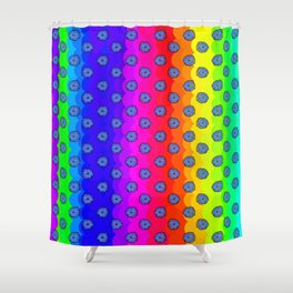 Rainbow and blue flowers Shower Curtain