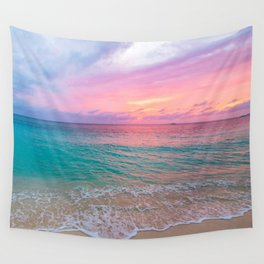 Aerial Photography Beautiful: Turquoise Sunset Relaxing, Peaceful, Coastal Seashore Wall Tapestry