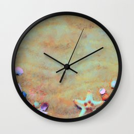 Summer Sand & Shells Expressionist Painting Wall Clock