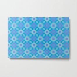 soleil - ocean blues mauve geometric square pattern Metal Print