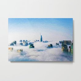 Dubai skyline topped in morning clouds landscape Metal Print