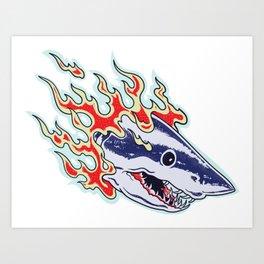Burnin Shark 90's tattoo Art Print